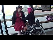 Leah Caprice and her lesbian lover flashing at a busstop
