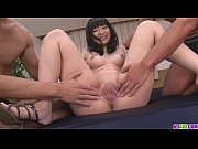 Two Older Guys Pound Hina Maeda Shaved Pussy