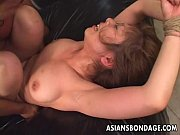 Tied up Asian babe gets fucked