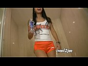 Tia Ling female desperation Hooters uniform