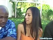 Asian babe gets fucked and defaced by two big dicks