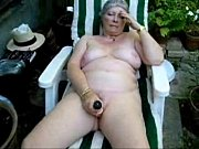 pervert granny maturbating in court yard..