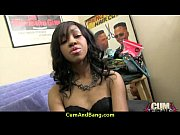 Supr hot ebony chick blows a group of white dicks 28