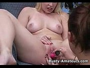 Busty Lacy and Kat on hot foreplay with dildo