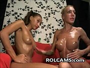Lesbian Teens Oiled Body And Toying