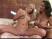 Busty milf shows hot blonde teen to suck and ride dick
