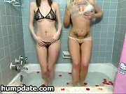 Two sexy babes stripping and teasing
