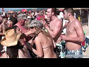 Huge beach party with sexy hot blonde