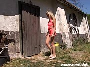 Blonde teen gets nailed in the barn