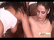 Beautiful brunette dikes have some hardcore fun on the couch