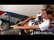 Sweet emo twink with blonde hair jerking his cock off