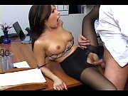 busty secretary in sheer pantyhose has.