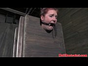 Mouth gagged sub facing dominants wrath