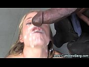 blonde interracial bitch gets bukkake