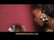 Hot horny black babe sucking cock through a gloryhole 4