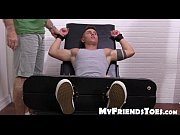 muscled jock sebastian gets brush tickled in his feet