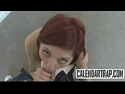 Amateur redhead with small tits gives a blowjob