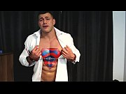 Sexy Lycra Superman Muscle Hunk Defeated To Cum
