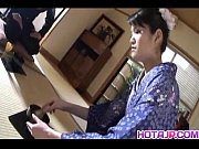 Kimono clad Suzuki Chao gives a hot blowjob to her horny date