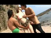 Tight asian double creampied on the beach