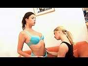 Sexy teen lesbians use vibrator in their sex games