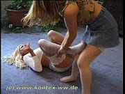 Miniskirt and Stocking Catfight Inez vs Natalja