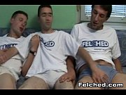 wild gay threesome bareback and felching