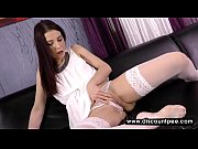 lonely brunette in white masturbates on.