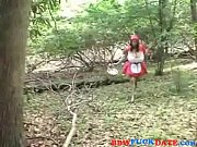 fat red riding hood going to the woods.