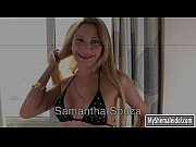 Big titted TS Samantha Souza analyzed by hard man meat