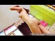 asian tranny kitty t strokes her own dick.
