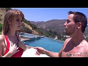 hot redhead fucked on a pool.
