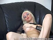 Blonde mistress shows off her nice and firm tits and her round ass for a tease