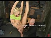 blonde with face bondage cage and hanged in.