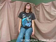 Petite nerdy girl peeing and s