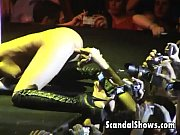 hot blonde girl stripping and dancing