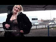 Sexy blonde Kaz flashing firm tits and milf public nudity of european exhibition
