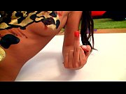 Lesbo body art painting with 18yo girls