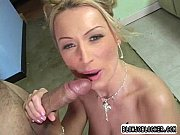 blonde chick gets cock in mouth