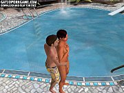 3D cartoon hunk sucks cock and gets fucked poolside