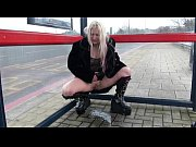 Delightful UK pornstar Kaz B pissing in public
