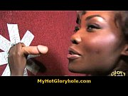 Hot horny black babe sucking cock through a gloryhole 23