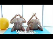 manroyale yoga session for two hot naked guys.