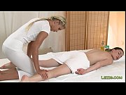 Brunette gets feet and boobs massage