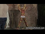 Gay cock He&#039_s roped up to the cross in just his underwear when the