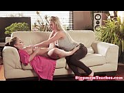 stepmom teaches teen how to ride cock in trio
