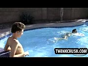 Horny twink sucks cock and gets fucked in the pool