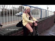 Flashing blonde Kaz masturbating in public and outdoor striptease for voyeurs by