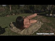 Big breasted tranny honey tugging her cock outdoors