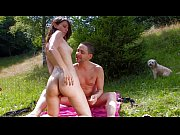 Perfect young brunette fucked by a bick cock in the garden